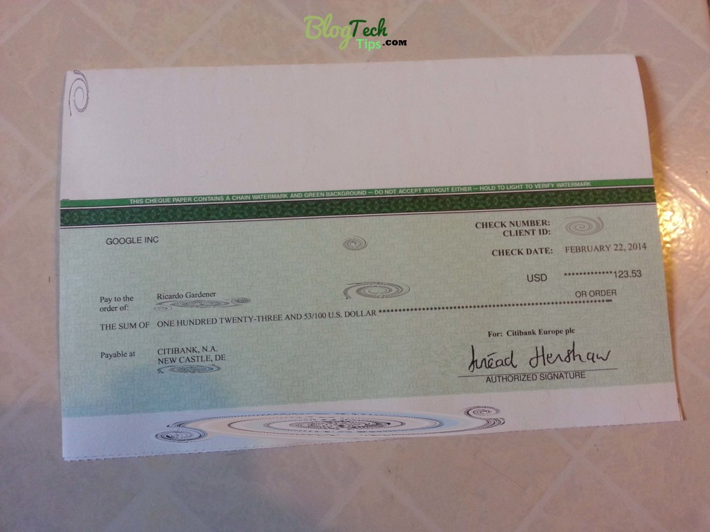 My First Adsense Cheque for $123.53.
