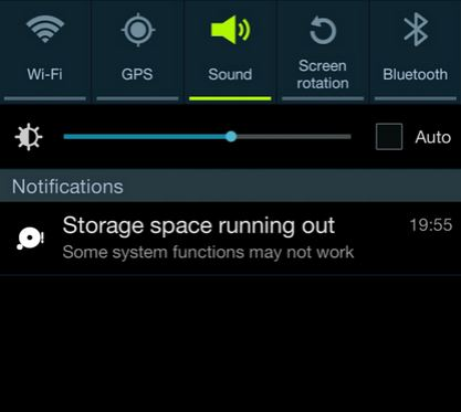 storage space running out