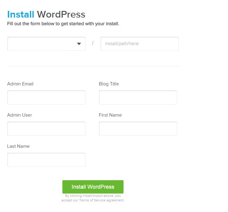 wordpress quick install
