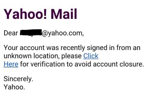 Signed in from unknown location email scam