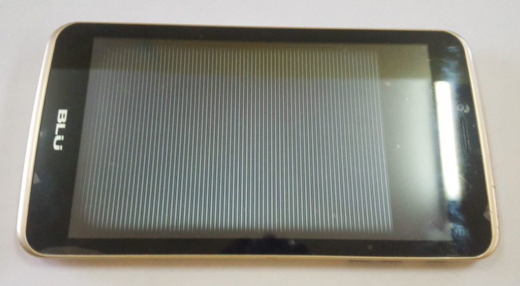 Horizontal white lines running through tablet display