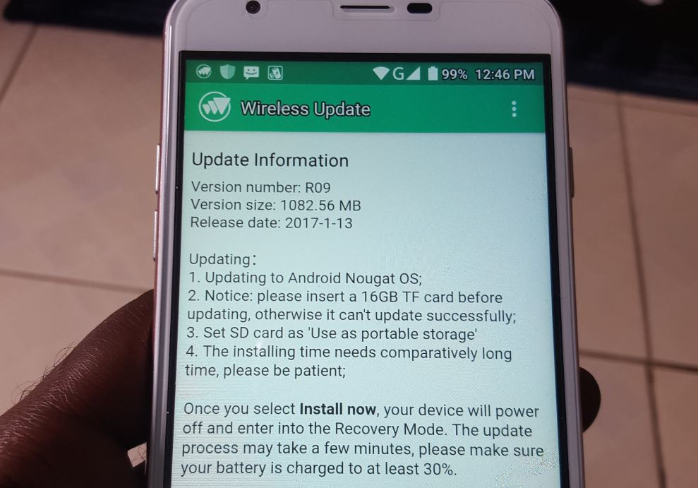 OUKITEL U7 Plus Android 7.0 Nougat Update failing to Install