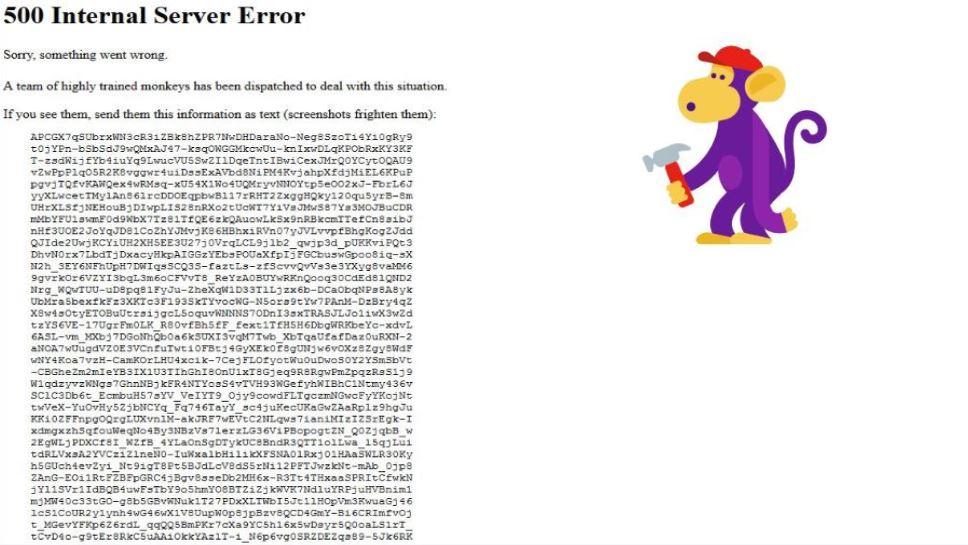 YouTube 500 Internal Server Error sorry,something went wrong