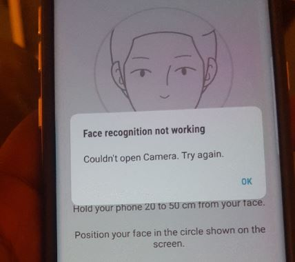 Iris Scanner, Face recognition, Front Camera Stop working on Galaxy S8
