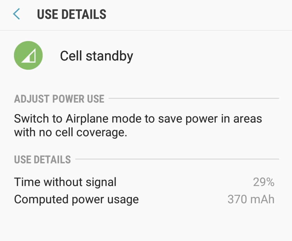 Severe battery drain caused by Cell standby Samsung Galaxy S8
