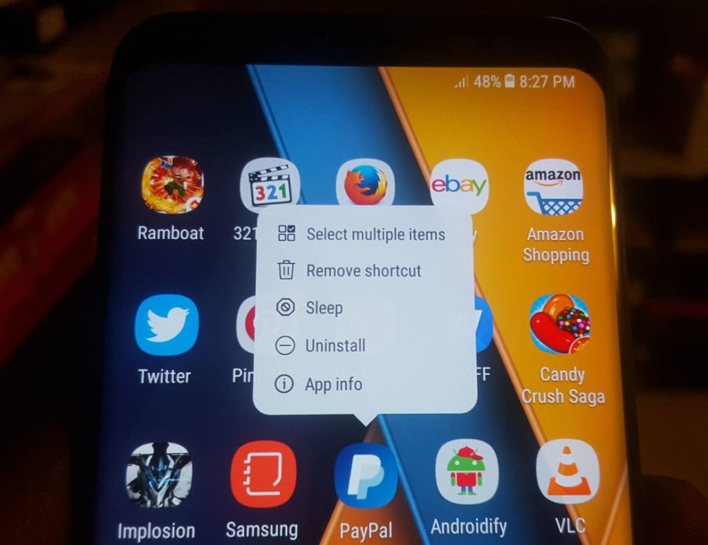 Samsung Galaxy S8 Menu Not Showing when long pressing App icons