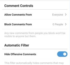 Instagram Control Who Comments on your Posts