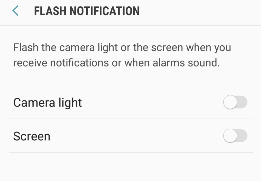 Enable Flash Notifications Galaxy S8