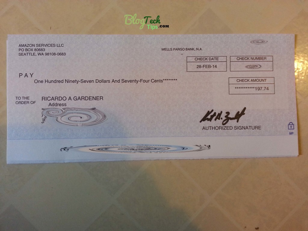 Amazon associates cheque