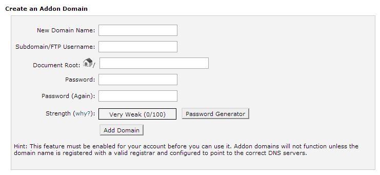 addon domain host gator