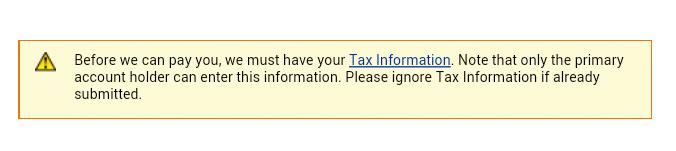 Amazon Associates Current Tax status: Incomplete Fix