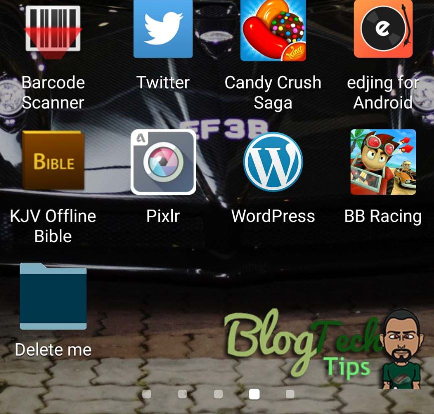 delete a folder created on the Android Apps page