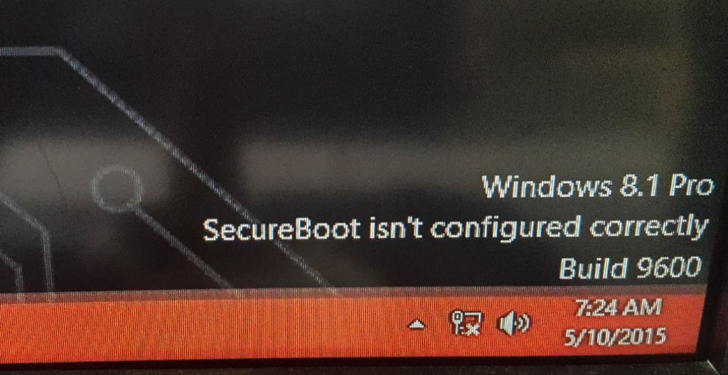 secure boot is not configured correctly