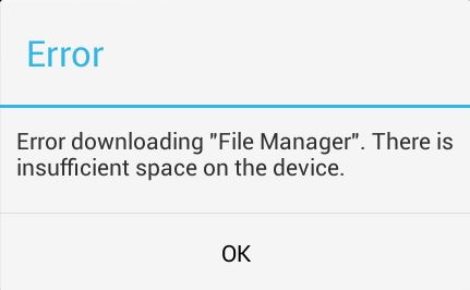 there is insufficient space on the device
