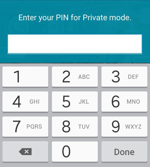 samsung galaxy s5 private mode