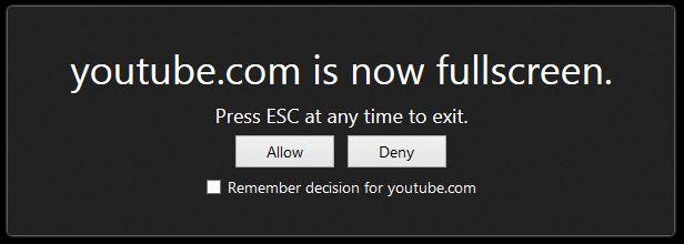 youtube fullscreen problem