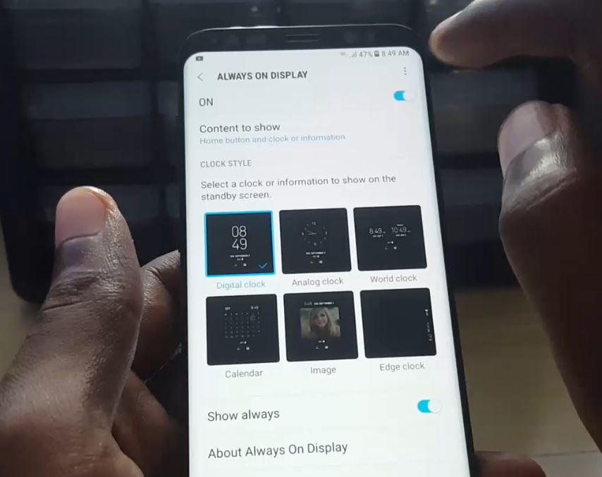 Change Always on display Galaxy S8,S8 Plus and Note 8