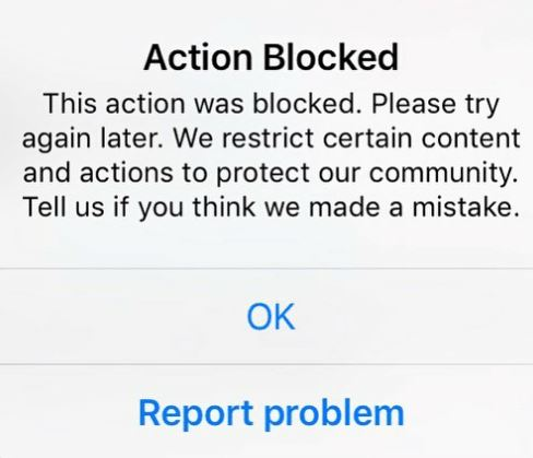 Action Blocked Instagram Fix
