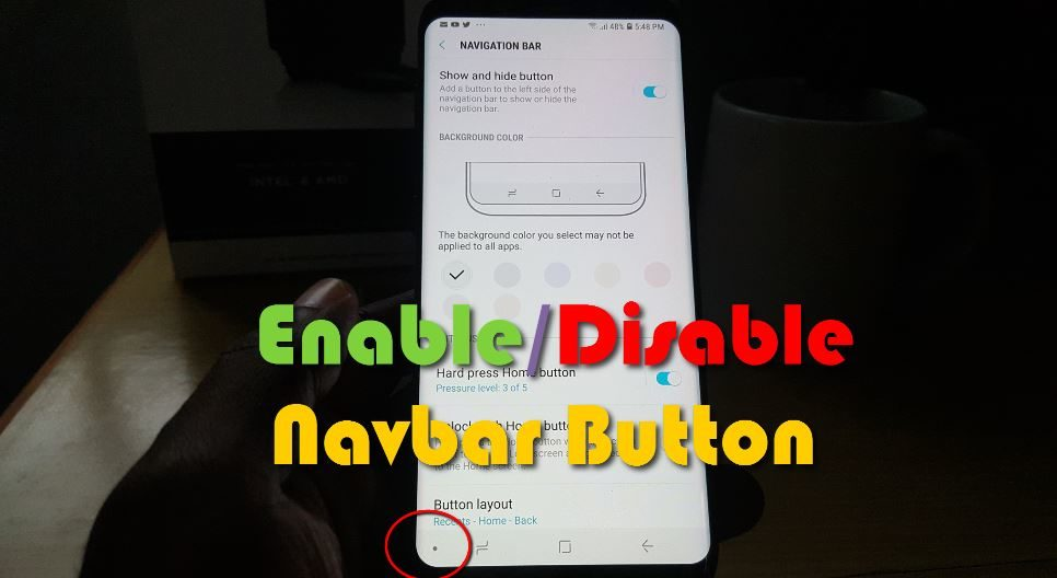Enable or disable the Navigation bar Show and Hide Button on the