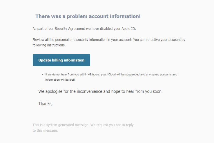 We've Disabled your Apple ID Fake email