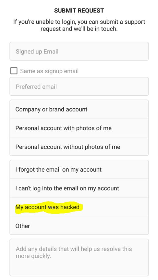 get back a Hacked Instagram Account