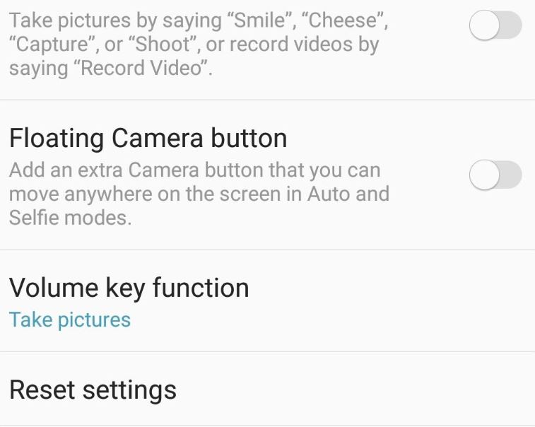 Reset Camera settings on Galaxy S9