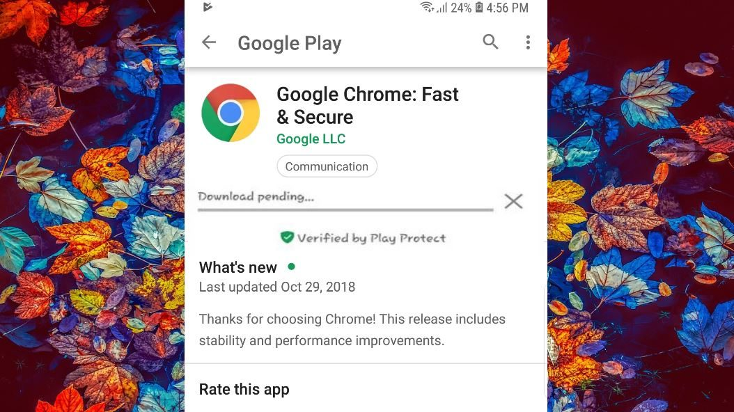 google play showing download pending