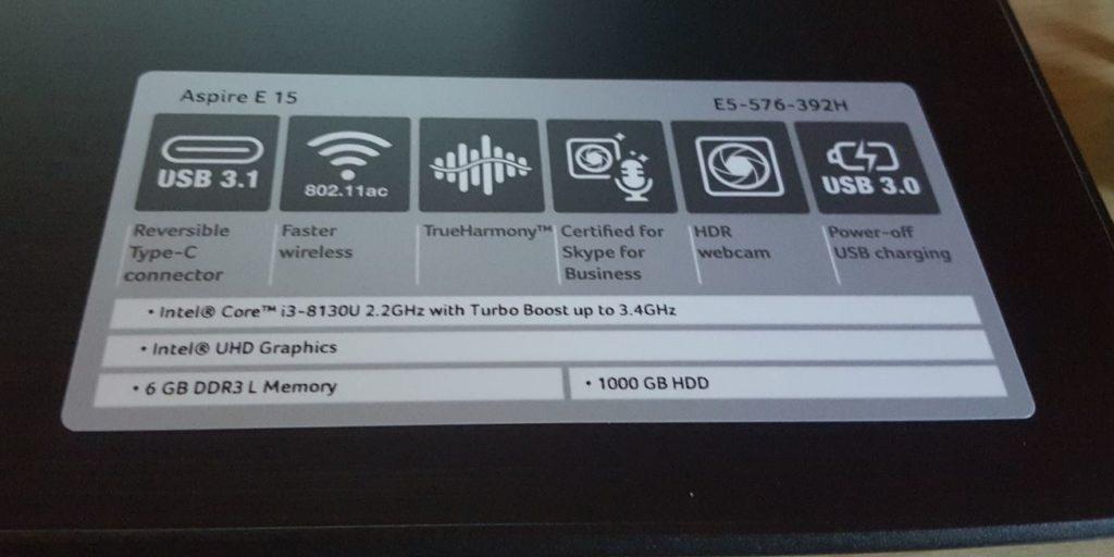 Acer Aspire E15 Laptop