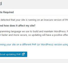 PHP update Required WordPress website on Hostgator