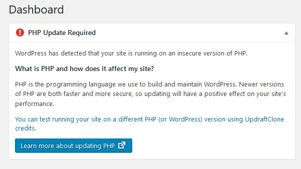 PHP update Required WordPress website on Hostgator