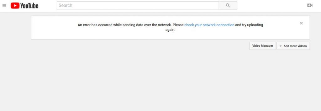 YouTube An Error has Occurred while sending data over the network