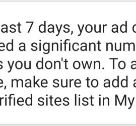 In the Past 7 Days Your AD Code has appeared a significant number of sites you don't own