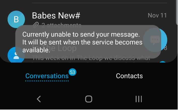 Currently Unable to send your message
