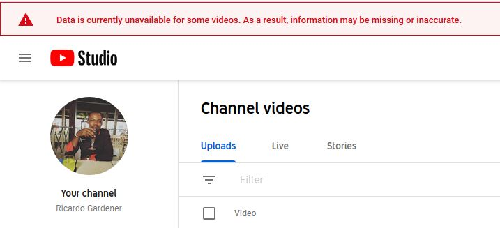 Data is currently unavailable for some videos YouTube Studio