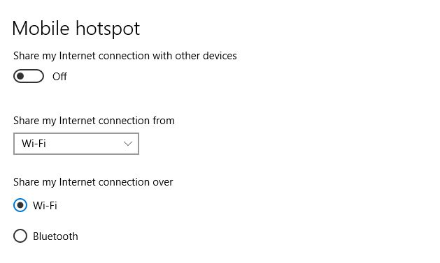 Enable Mobile HotSpot on your Windows 10 computer