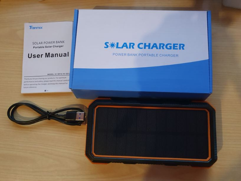 Tranmix Solar Power Bank with  Wireless Charger